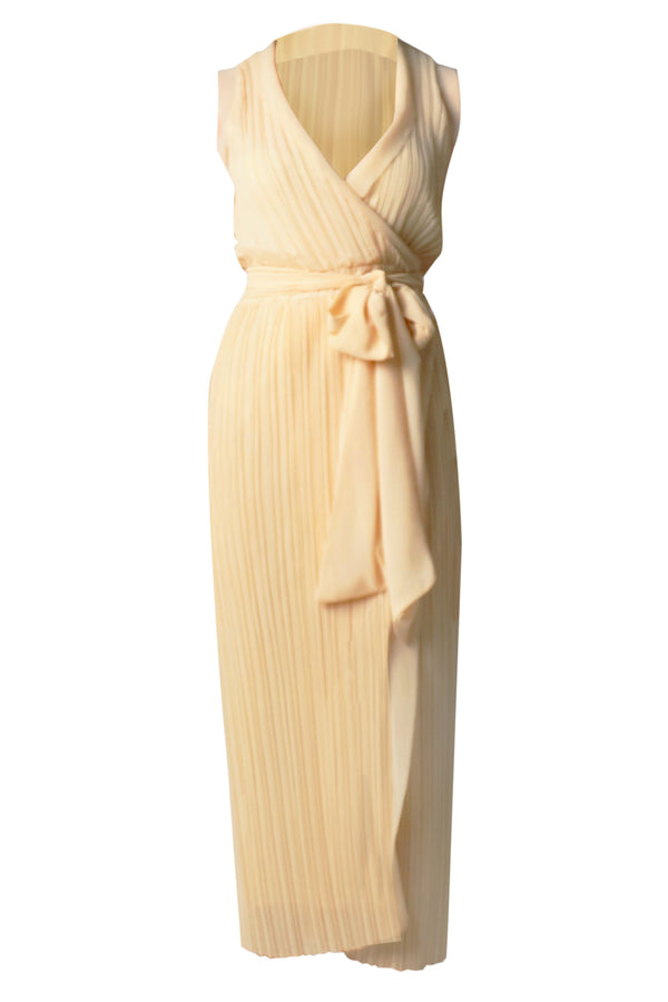 BUTTER PLEAT WRAP DRESS