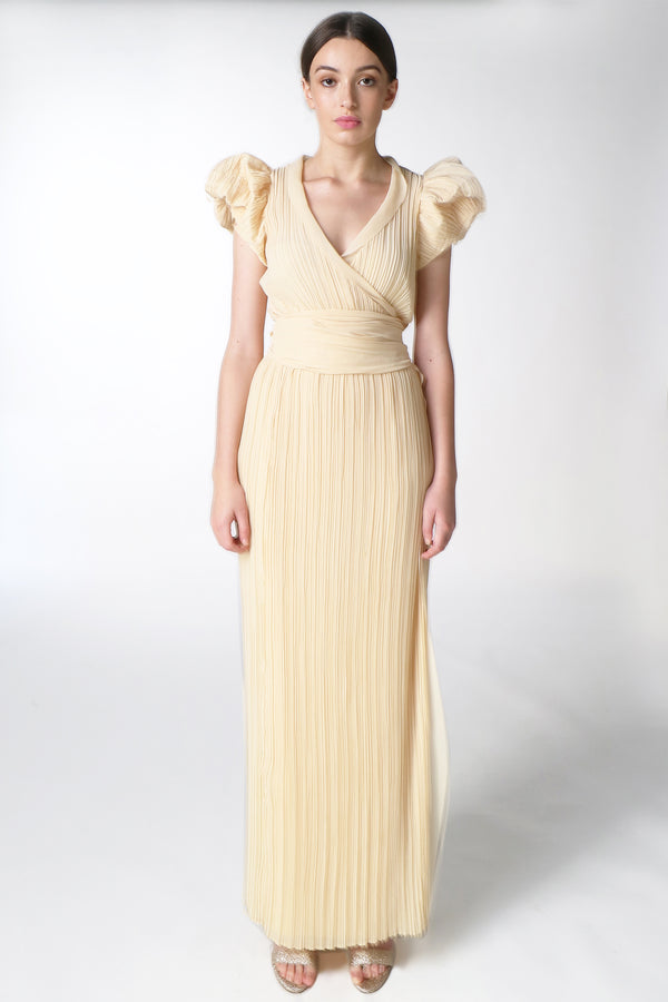 BUTTER PUFF SLEEVE WRAP GOWN