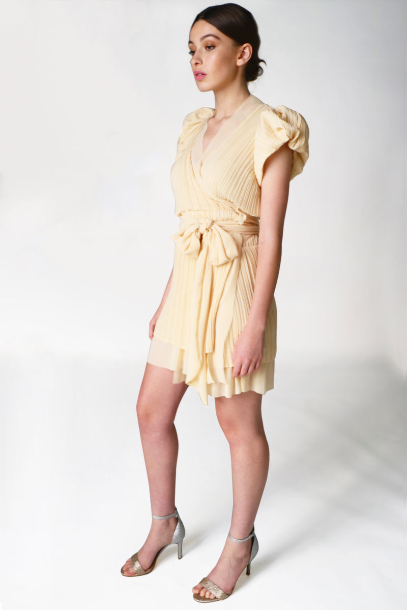 BUTTER PUFF SLEEVE WRAP DRESS