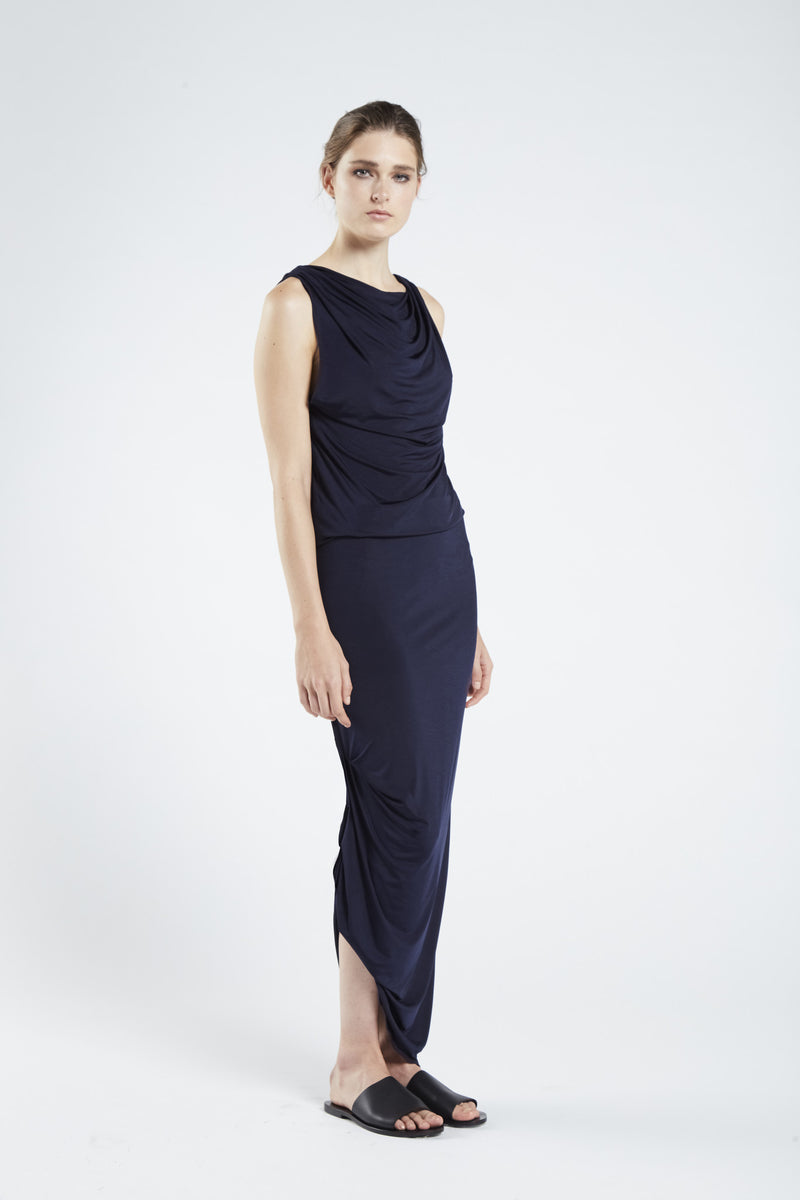 MIDNIGHT MULTIWAY DRAPE DRESS