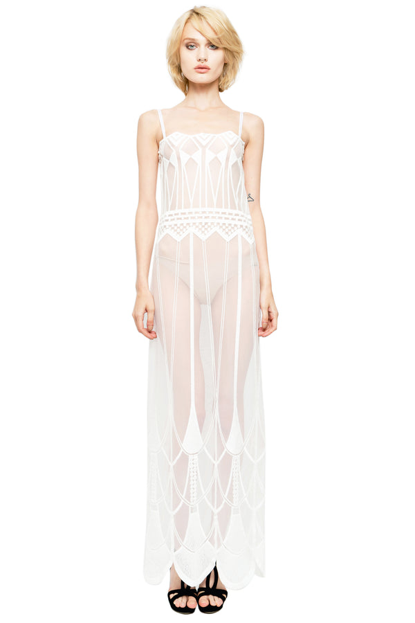 IVORY ART DECO LACE DRESS