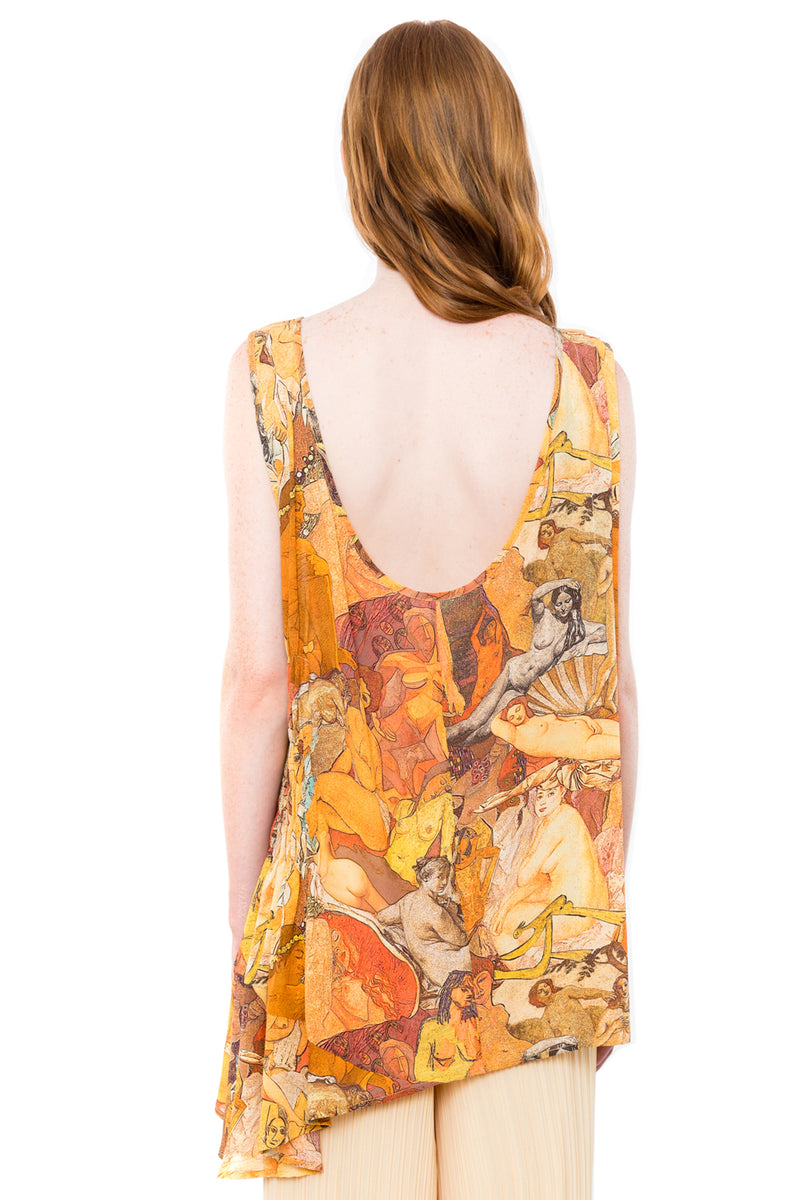 NUDES ASYMMETRIC PRINT TOP