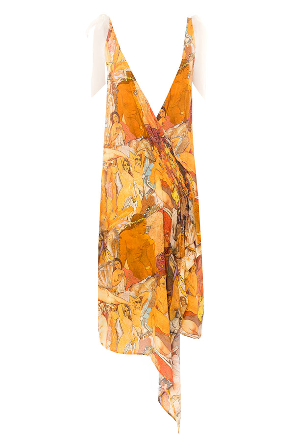NUDES PRINT DRAPE BOW DRESS