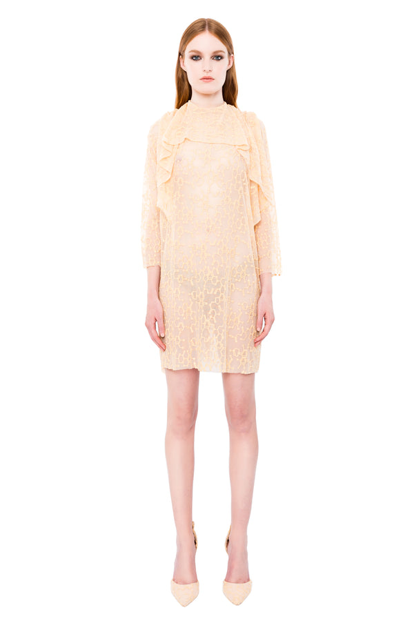 OLD GOLD MOLECULAR LACE DRESS