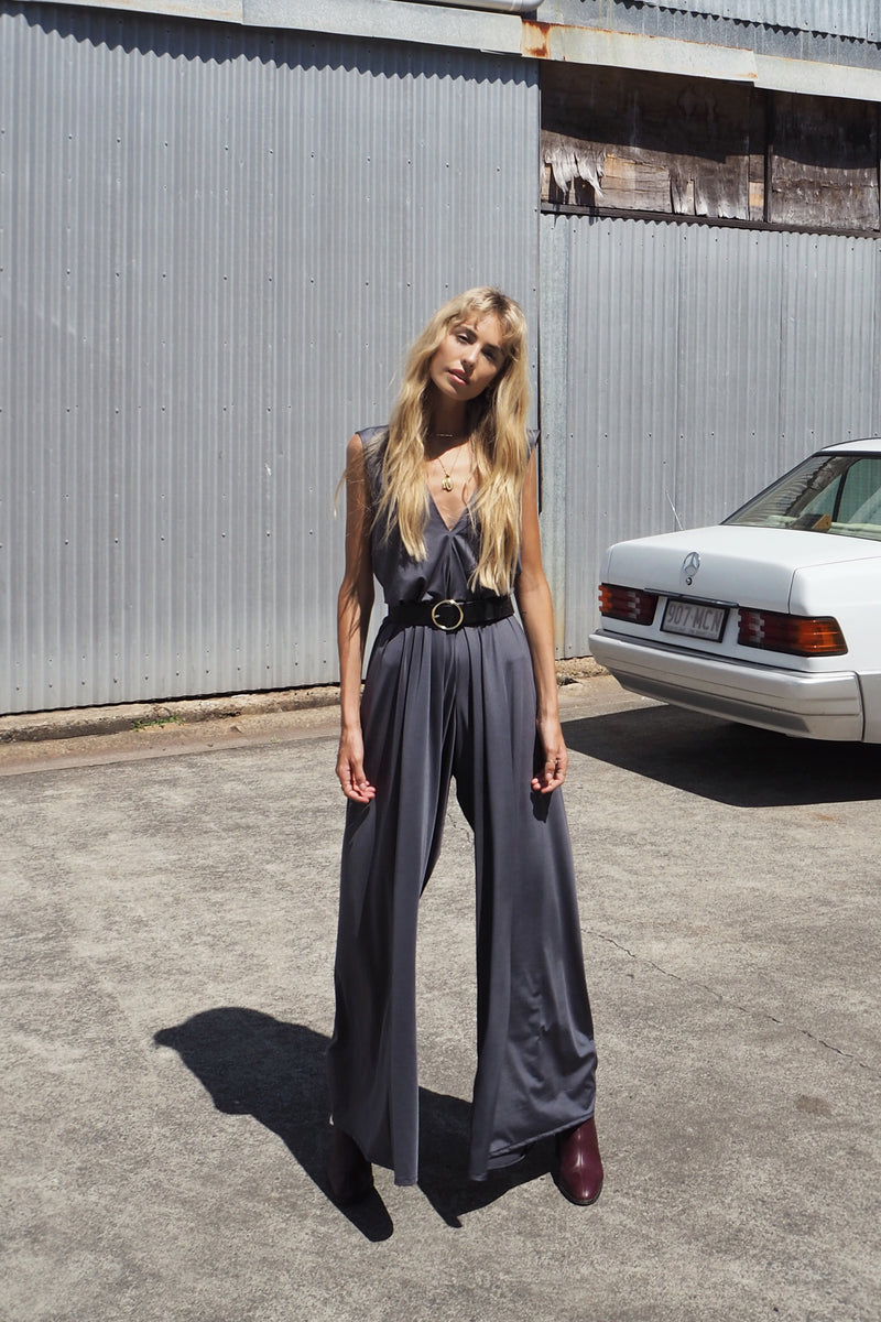 SLATE DEEP V NECK JUMPSUIT