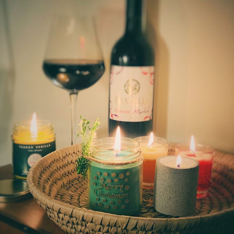 Cosy Scented Candles with wine in tray for Home Decor