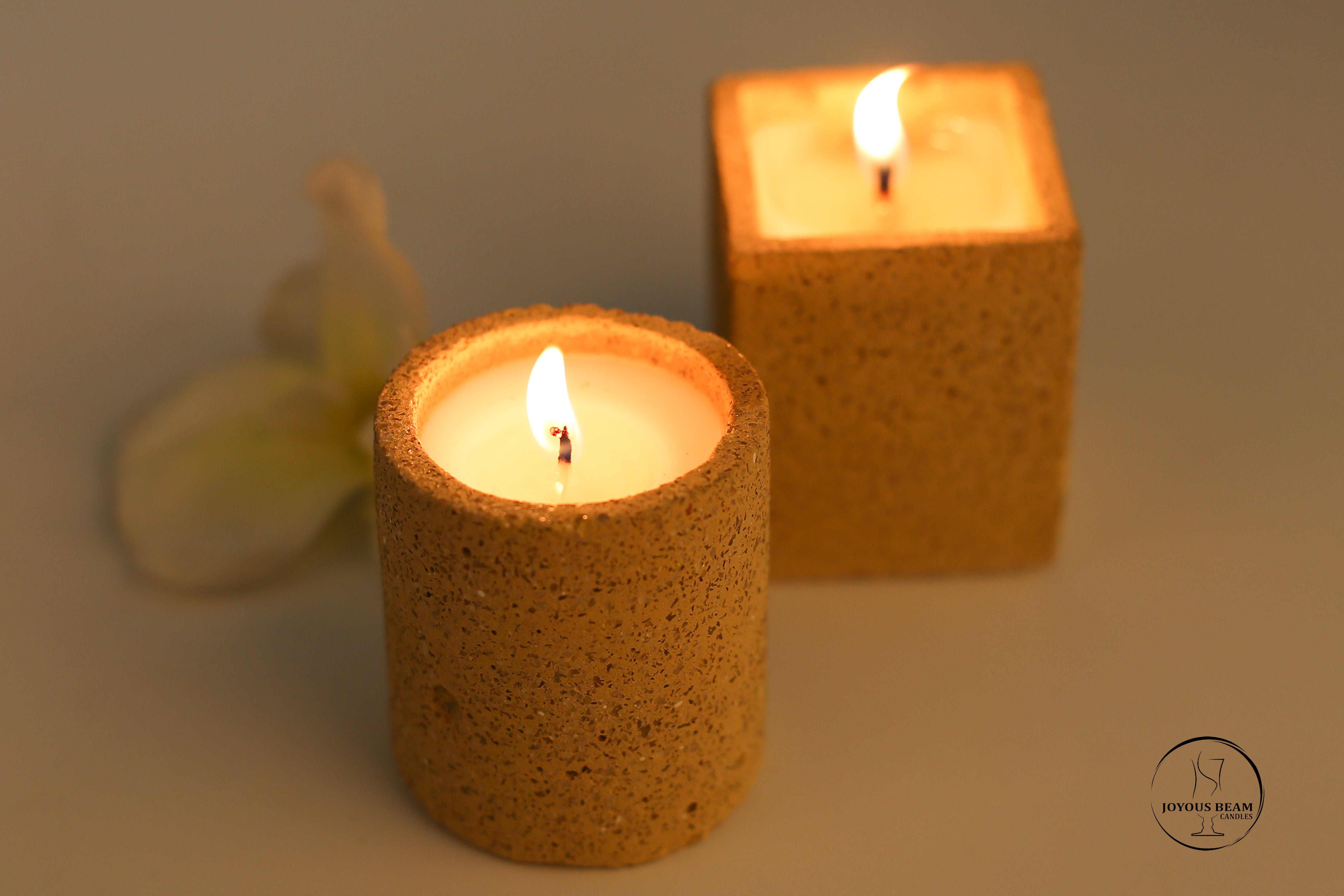 Yellow Concrete Candle (Set of 2)