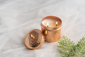 Rose Gold 2 wick Votive Scented Candle - Musk and geranium