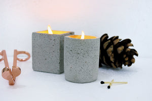 White Concrete Candle (Set of 2)