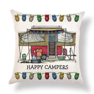 "9 models - Cushion covers ""Happy Camper"""
