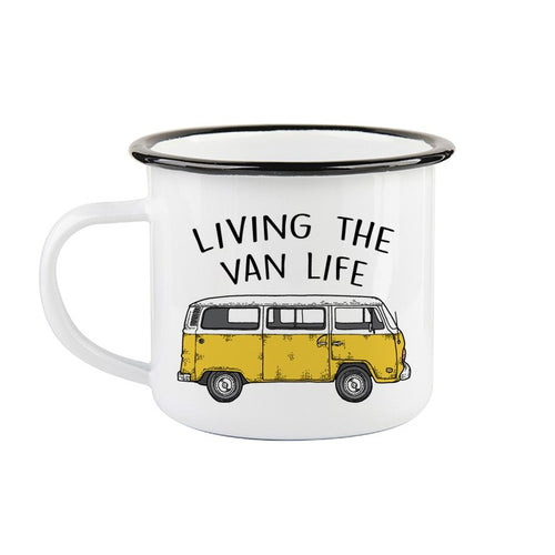 Tasse en émail «Living the van life»