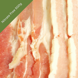 Thin sliced Streaky Bacon Nitrate-Free - Sugar Free - Gluten Free (500g) 2mm thick