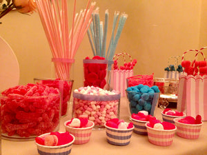 Candy bar rosa y azul