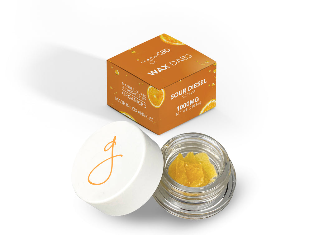 Sour diesel CBD wax dabs with retail jar and box packaging,