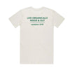 Organic cotton t shirt with green lettering on back side.