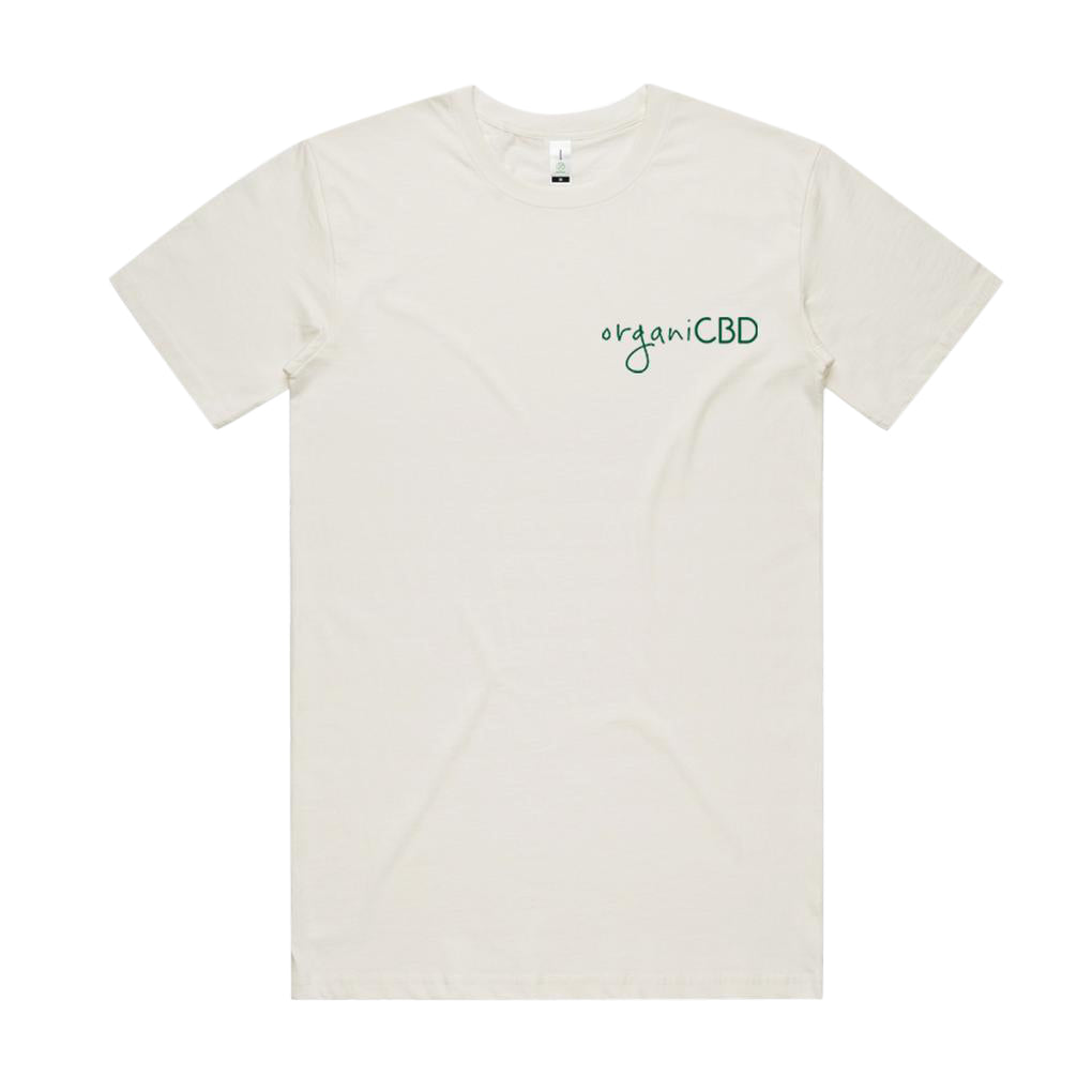 Organic cotton t shirt with green lettering on front side.