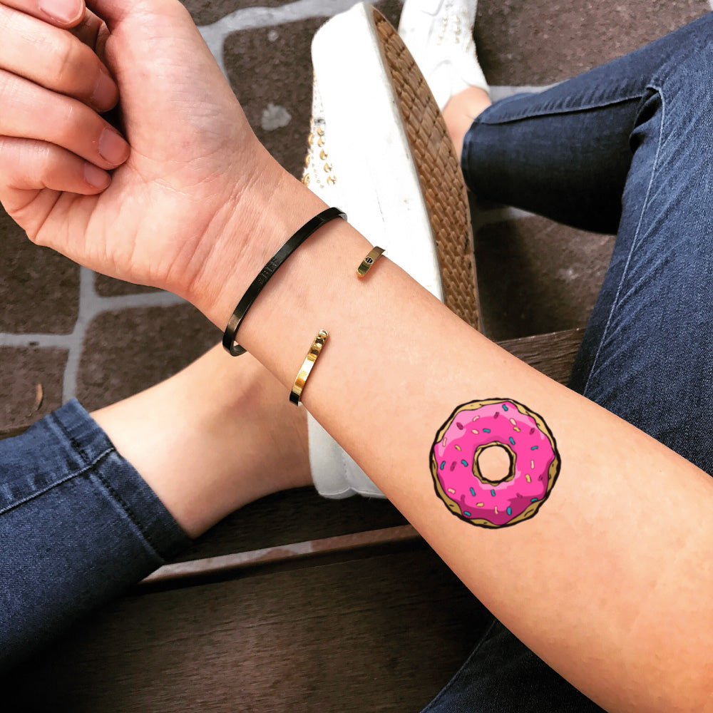 small donut food color temporary tattoo sticker design idea on forearm