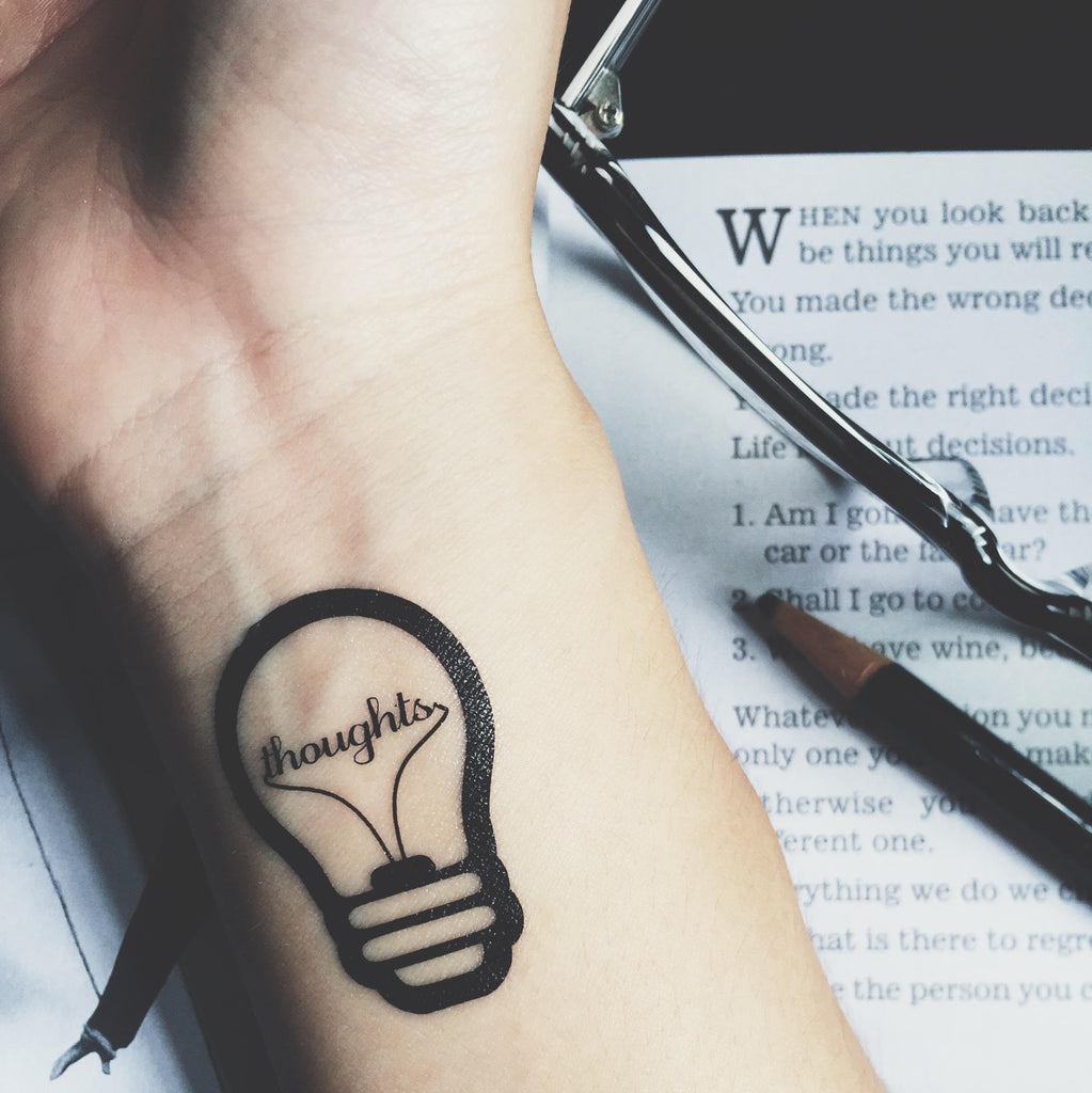 OhMyTat - Illustrative Temporary Tattoo Sticker Collection - Small Light Bulb on Wrist Hand