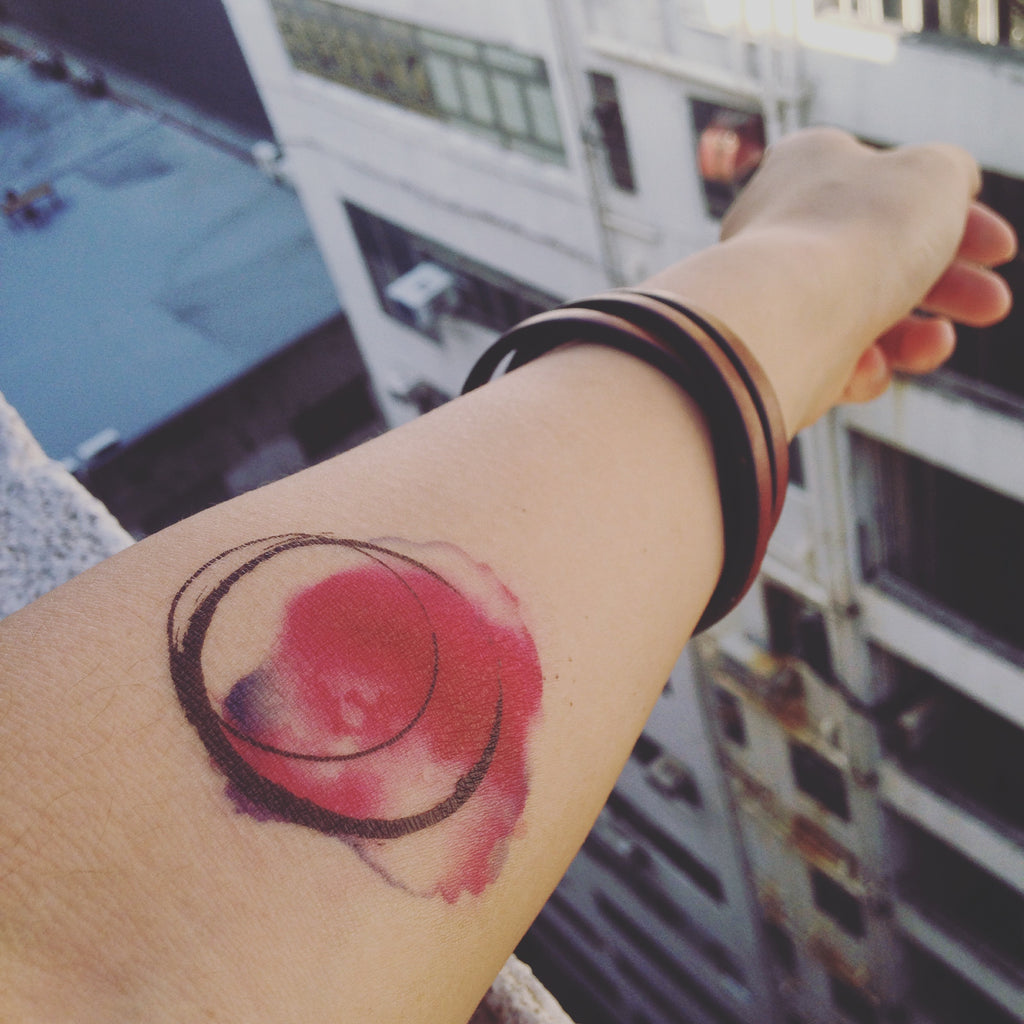small watercolor circle color temporary tattoo sticker design idea on inner arm