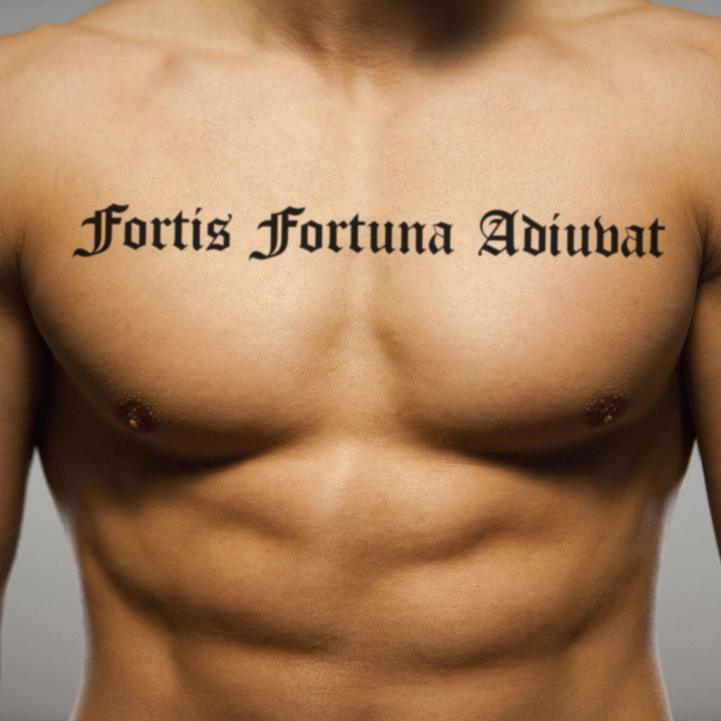 fake big fortis fortuna adiuvat lettering temporary tattoo sticker design idea on chest