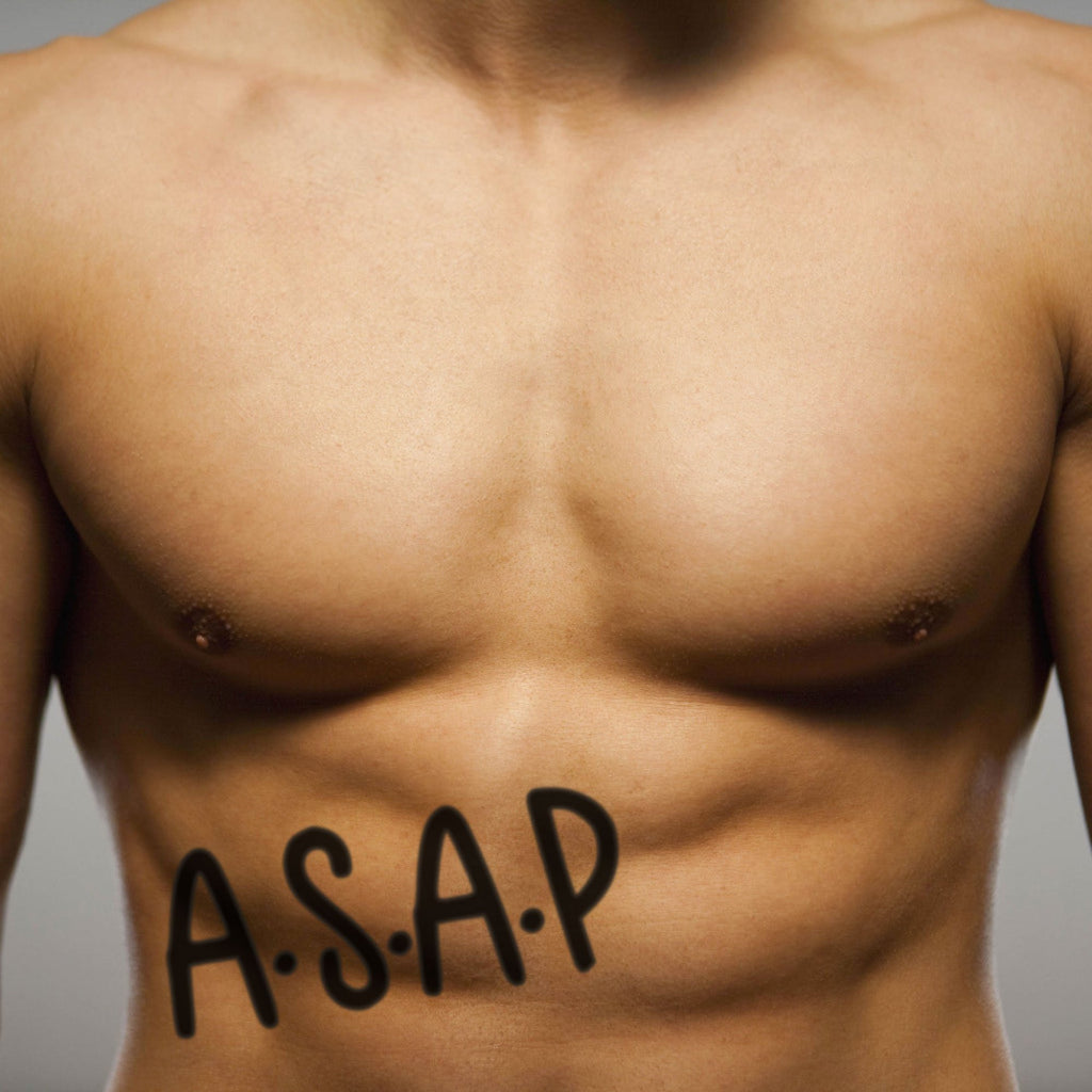 fake big asap rocky lettering temporary tattoo sticker design idea on stomach