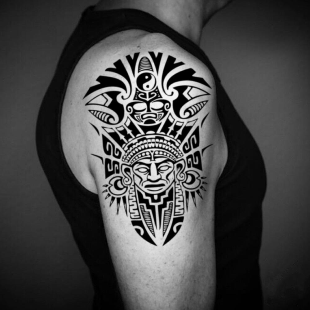 fake big aztec warrior god azteca half short sleeve native american tribal temporary tattoo sticker design idea on upper arm