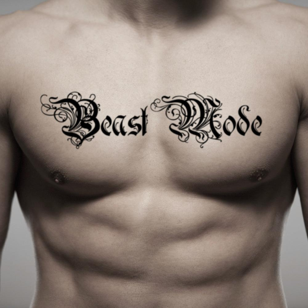 fake big beast mode traditional english lettering temporary tattoo sticker design idea on chest