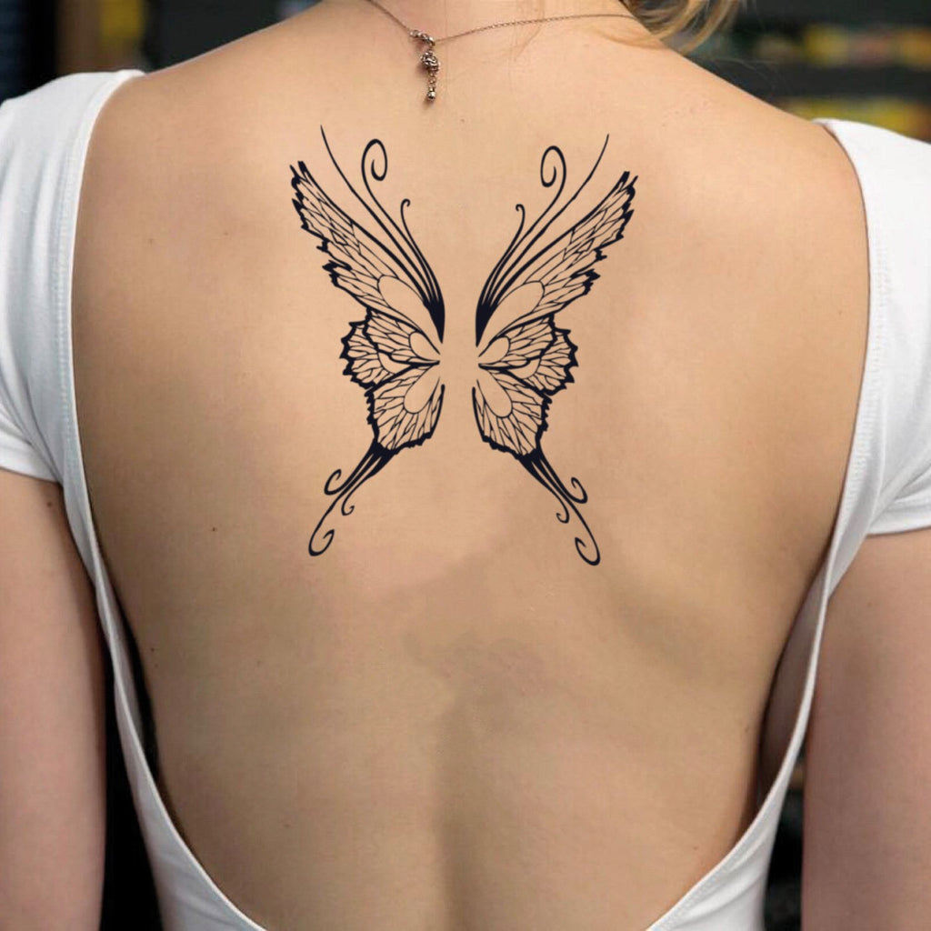fake big butterfly wings animal temporary tattoo sticker design idea on back