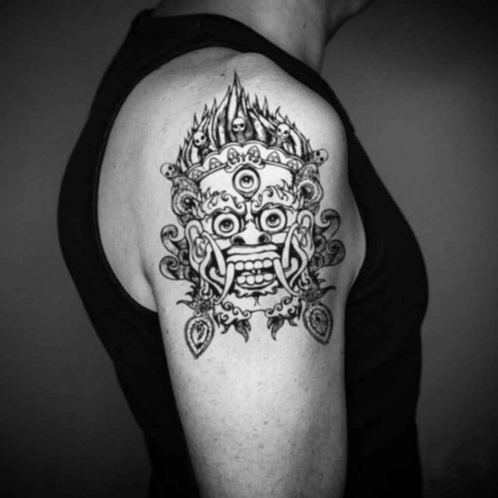 fake big chinese japanese demon mask illustrative temporary tattoo sticker design idea on upper arm