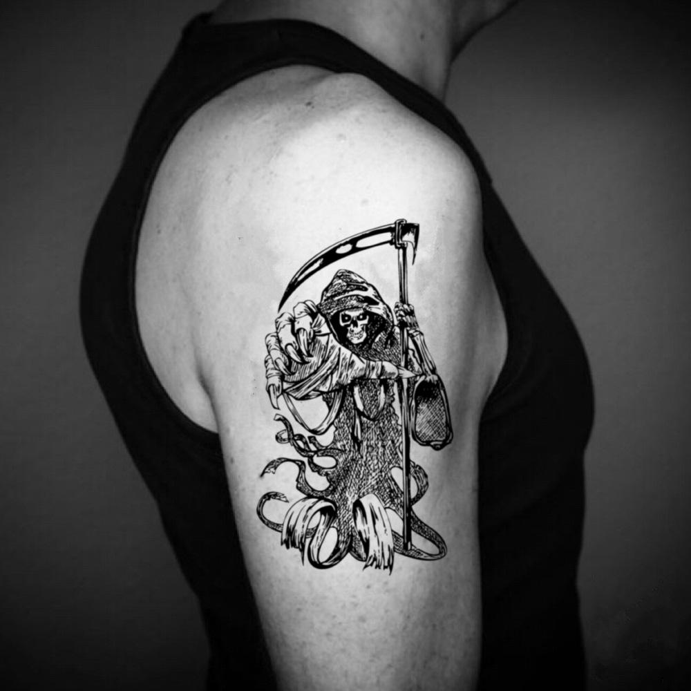 fake big don't fear the grim reaper cheating holy death azrael executioner nazgul soa illustrative temporary tattoo sticker design idea on upper arm