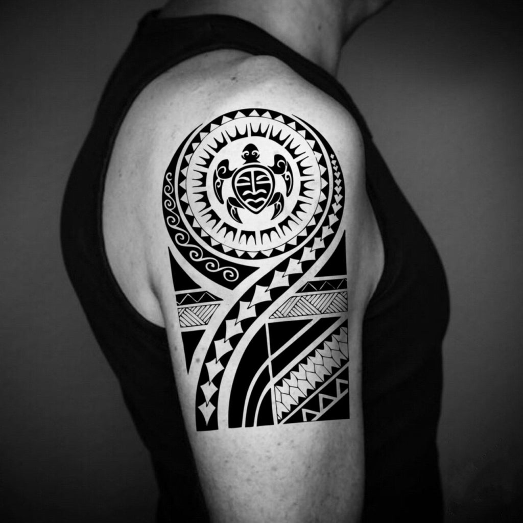 fake big honolulu hawaii hawaiian tonga style pacific islander marquesan cherokee deltoid dwayne the rock johnson modern tribal ilocano maui visayan quarter sleeve temporary tattoo sticker design idea on upper arm