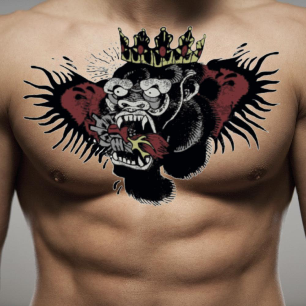 fake big mcgregor gorilla animal color temporary tattoo sticker design idea on chest