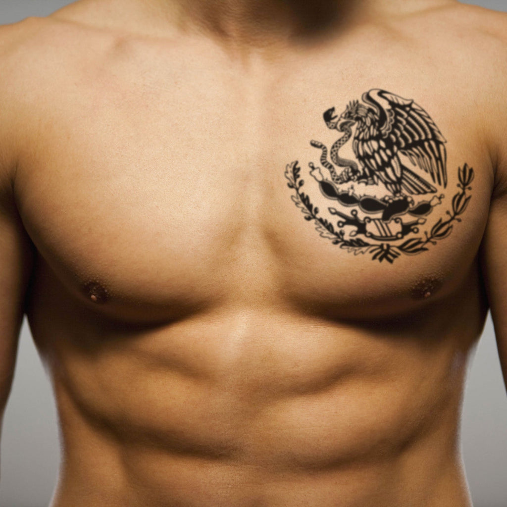 fake big mexican eagle flag pride aztec warrior mafia style pec pectoral muscular man nipple tribal temporary tattoo sticker design idea on chest