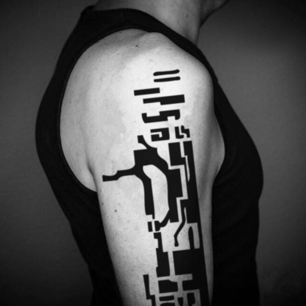 fake big mirror's edge faith mischief geometric temporary tattoo sticker design idea on upper arm