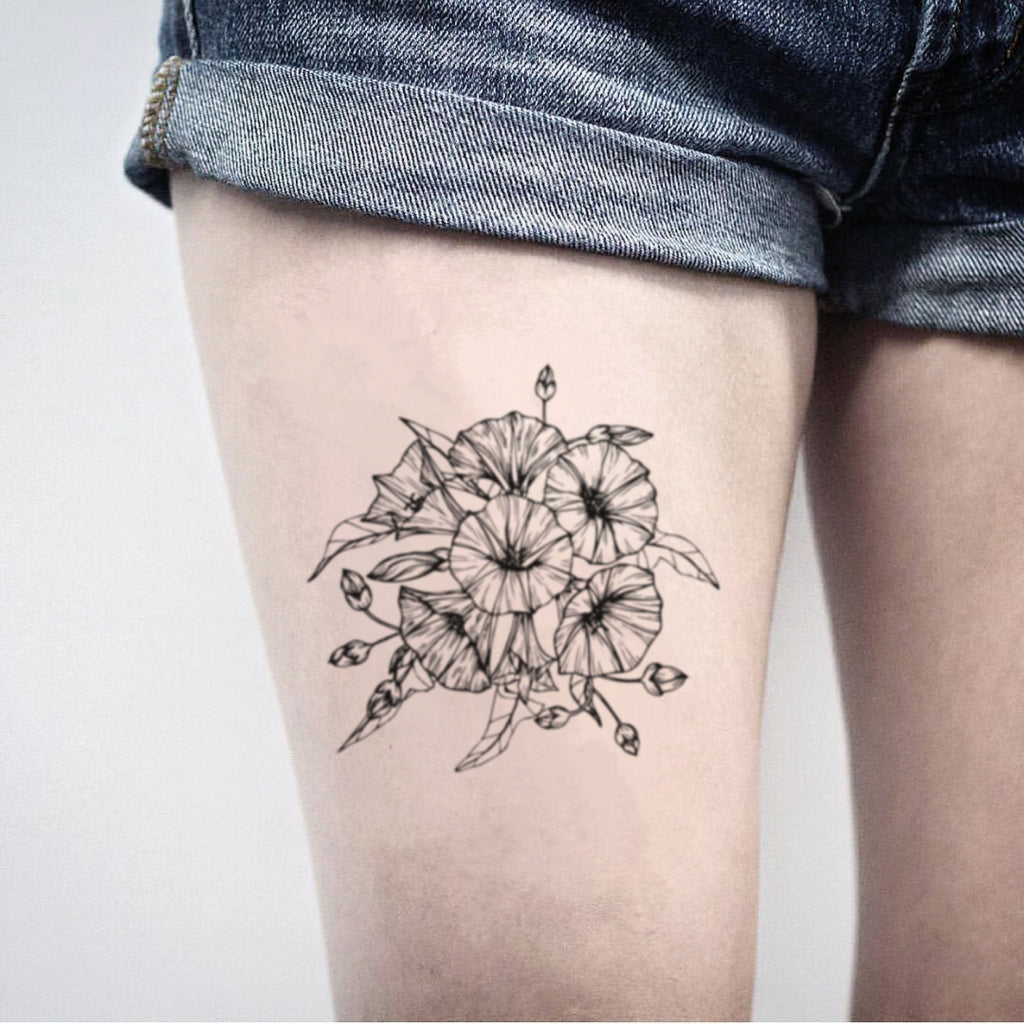 fake big morning glory flower bouquet flower temporary tattoo sticker design idea on thigh