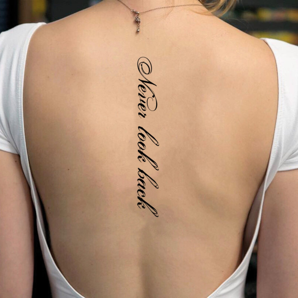 fake big never look back scoliosis lettering temporary tattoo sticker design idea on back