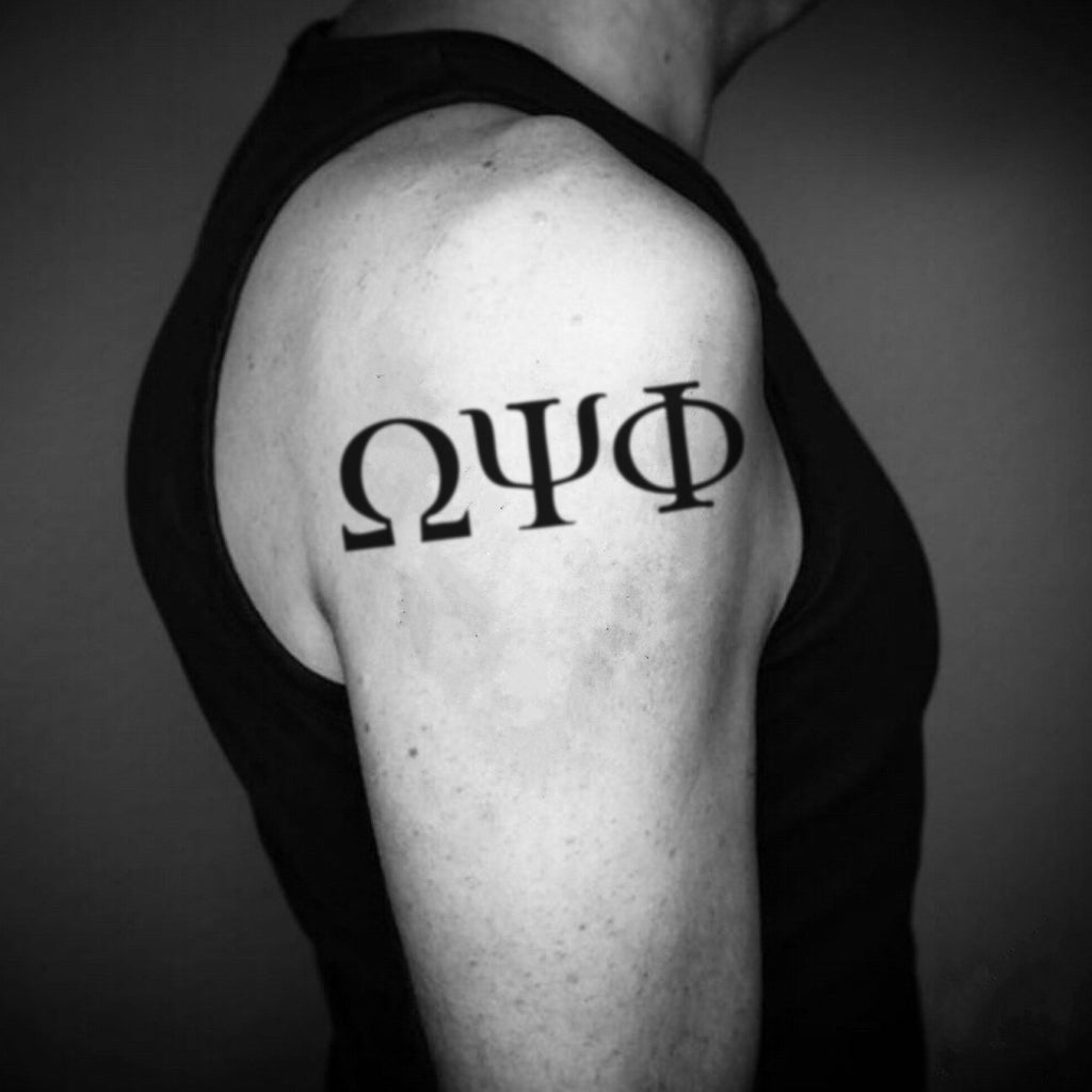 fake big omega psi phi minimalist temporary tattoo sticker design idea on upper arm