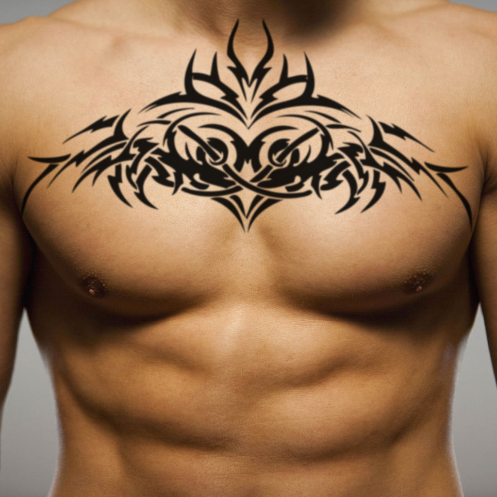 fake big randy orton back tribal temporary tattoo sticker design idea on chest