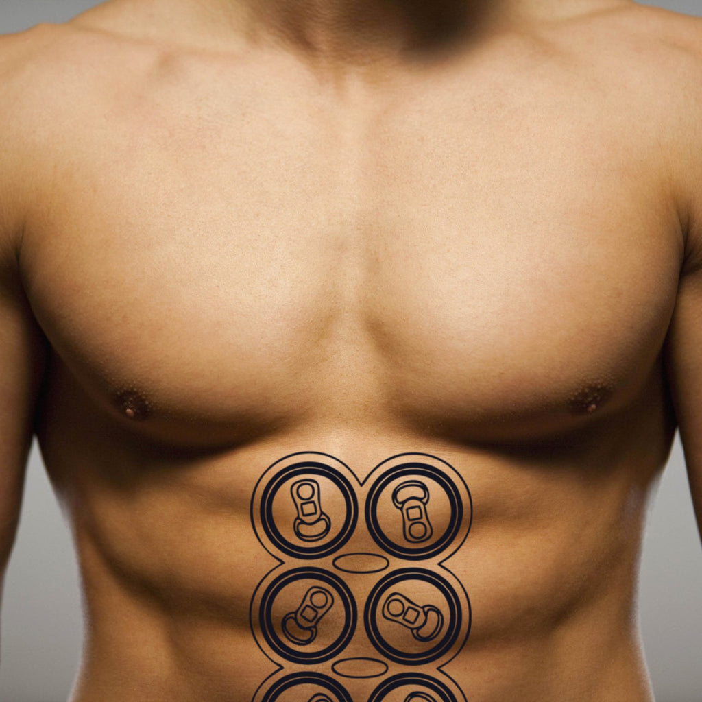 fake big six pack beer can food temporary tattoo sticker design idea on stomach