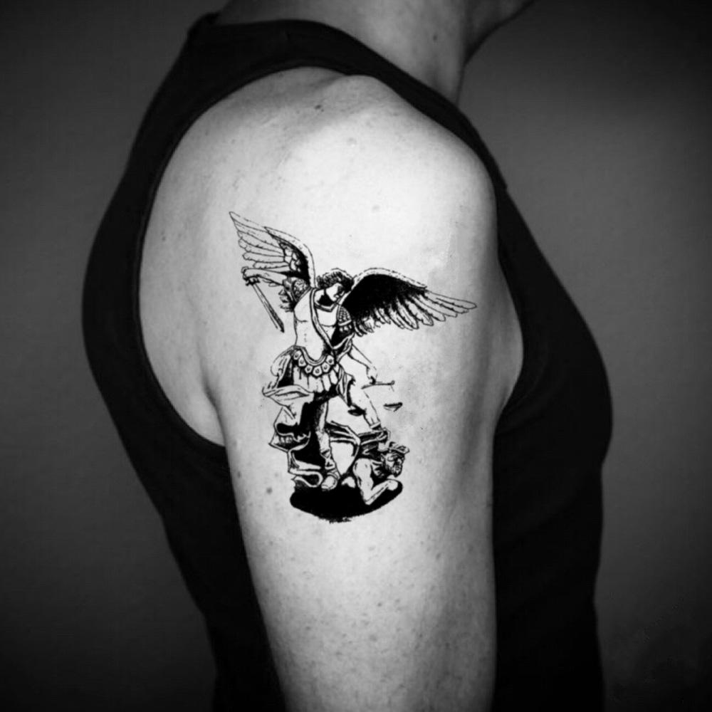 fake big st michael lucifer illustrative temporary tattoo sticker design idea on upper arm