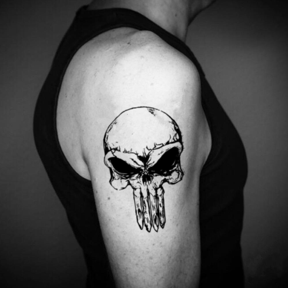 fake big the punisher illustrative temporary tattoo sticker design idea on upper arm