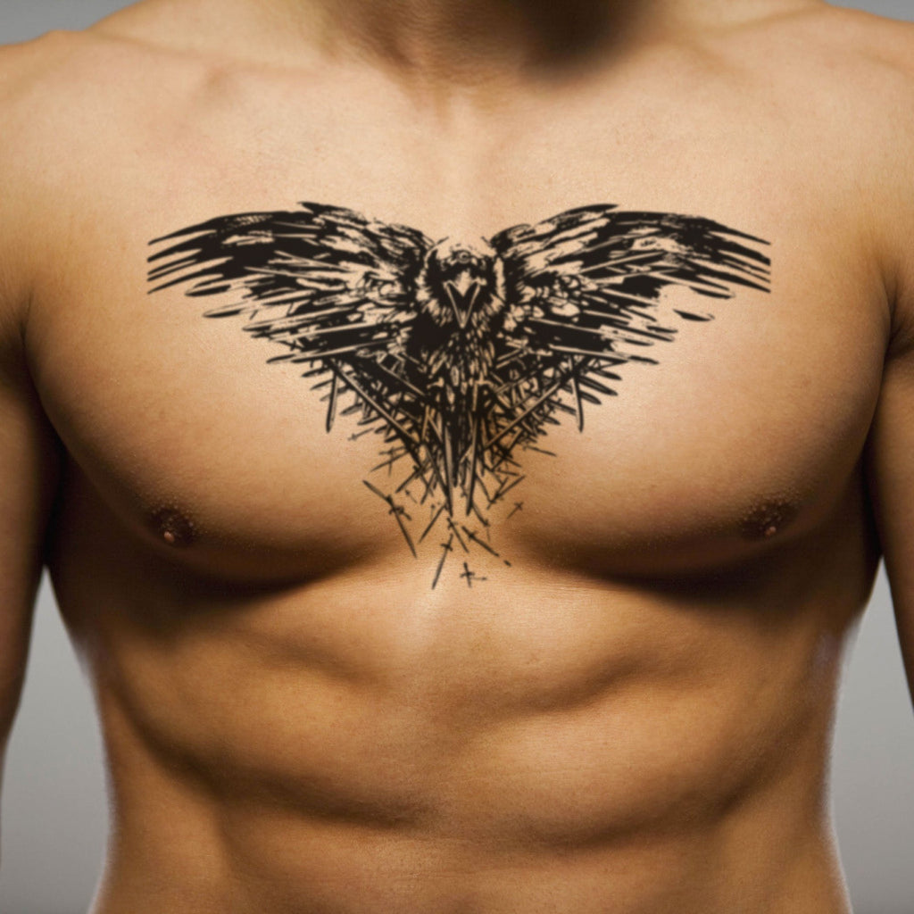 fake big three eyed raven got valar morghulis trap trapezius animal temporary tattoo sticker design idea on chest