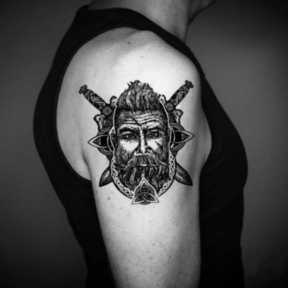 fake big danish viking head statue barbarian dionysus hades king neptune moses portrait hephaestus hercules odysseus plato roman god empire socrates temporary tattoo sticker design idea on upper arm
