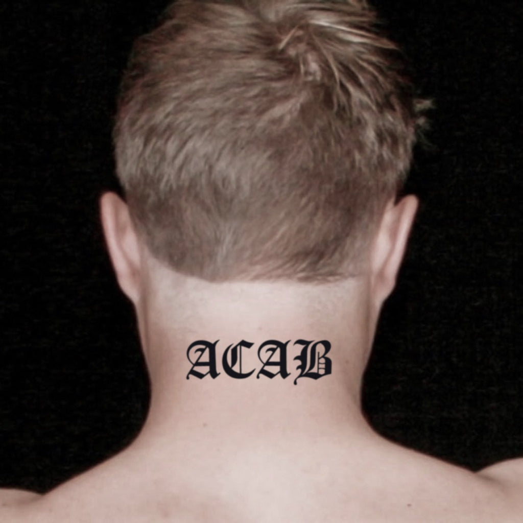fake medium acab lettering temporary tattoo sticker design idea on neck