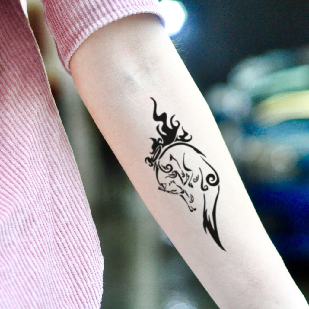 fake medium amaterasu animal temporary tattoo sticker design idea on inner arm