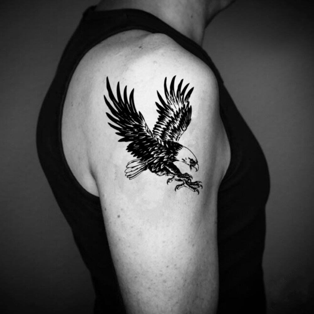 fake medium black american flying harpy philippine screaming eagle bird of prey peregrine falcon red tailed hawk vulture animal temporary tattoo sticker design idea on upper arm