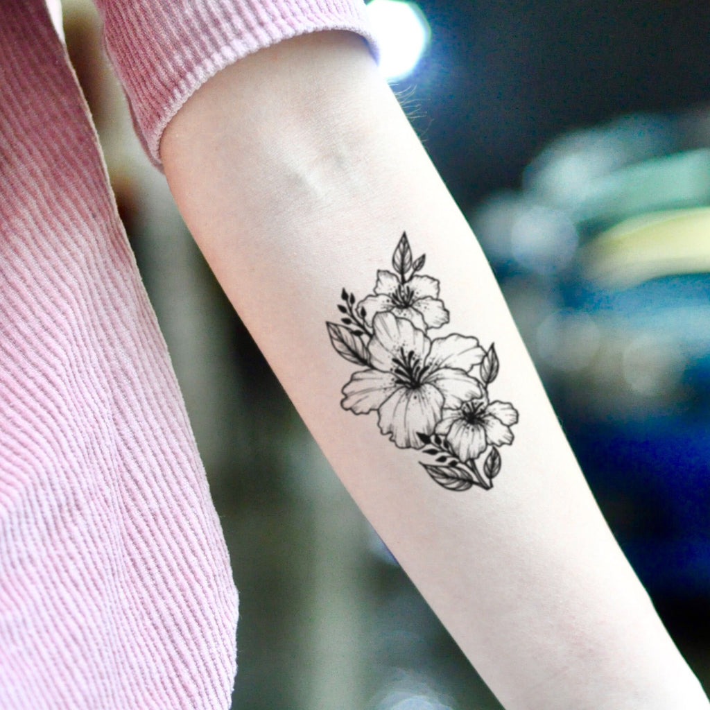 fake medium azalea flower temporary tattoo sticker design idea on inner arm