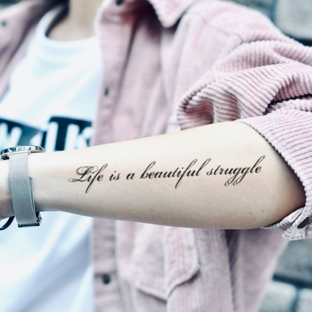 fake medium beautiful struggle lettering temporary tattoo sticker design idea on forearm