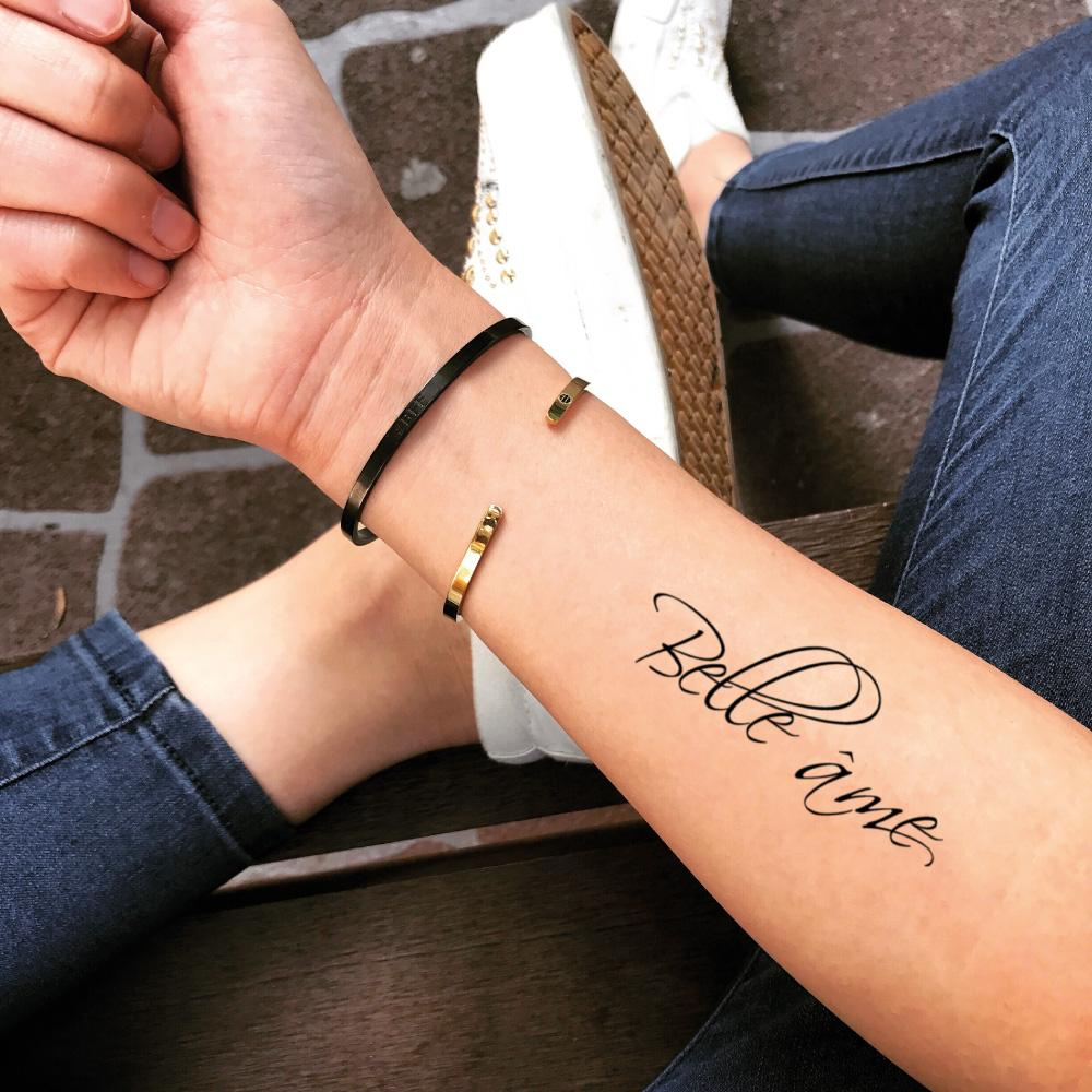 fake medium belle äme french lettering temporary tattoo sticker design idea on forearm