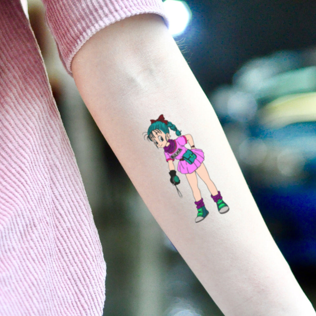 fake medium bulma dragon ball cartoon temporary tattoo sticker design idea on inner arm